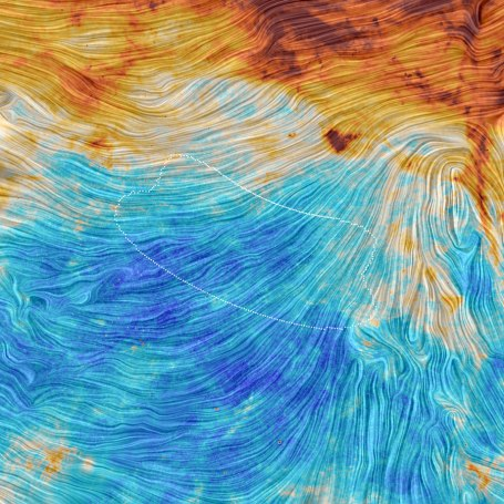 This image from the European Space Agency's Planck satellite shows the space observatory's view of the same region observed by the Antarctica-based BICEP2 project. The Planck data suggests that light patterns that confirmed cosmic inflation theory were actually caused by space dust. Credit: ESA/Planck Collaboration. Acknowledgment: M.-A. Miville-Deschênes, CNRS - Institut d'Astrophysique Spatiale, Université Paris-XI, Orsay, France