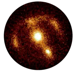 Image: The claimed gravitationallylensed galaxy seen as an irregular ring of radiation around the distant galaxy in the centre of this 2.2-micron CCD photograph, made with the 10-meter Keck telescope on Hawaii. Credit: ESA and the W. M. Keck Observatory