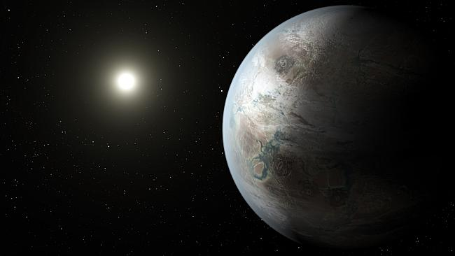 This artist's concept depicts one possible appearance of the planet Kepler-452b, the first near-Earth-size world to be found in the habitable zone of star that is similar to our sun. Picture: NASA Ames/JPL-Caltech/T. Pyle Source: Supplied