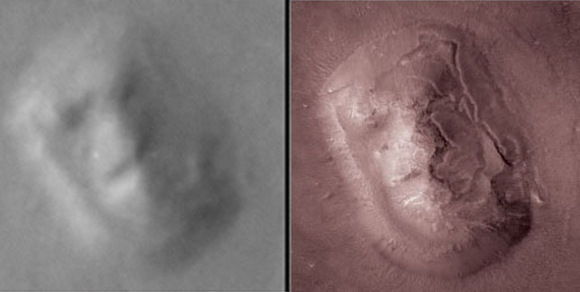 Figure 2. So called 'Face on Mars' on the plain of Cydonia. Left, 1976 Viking image and, right, 2001 MGS image.3