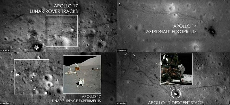 Figure 1. Four images from NASA clearly showing the surface of the moon with astronaut footprints, rover tracks, and scorch marks from the spacecraft used. Source: Ref. 1.