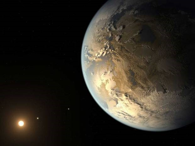 Figure 1. Artist conception of the planet Kepler-452b. Clouds, continents and oceans are included, for which there is no evidence. Credit: NASA