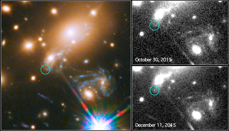 This image composite shows the search for the supernova, nicknamed Refsdal, using the NASA/ESA Hubble Space Telescope. The image to the left shows a part of the the deep field observation of the galaxy cluster MACS J1149.5+2223 from the Frontier Fields programme. The circle indicates the predicted position of the newest appearance of the supernova. To the lower right the Einstein cross event from late 2014 is visible. The image on the top right shows observations by Hubble from October 2015, taken at the beginning of observation programme to detect the newest appearance of the supernova. The image on the lower right shows the discovery of the Refsdal Supernova on 11 December 2015, as predicted by several different models.