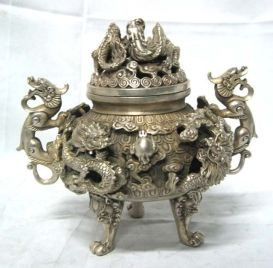 preeminent-Tibet-silver-nine-dragon-censer