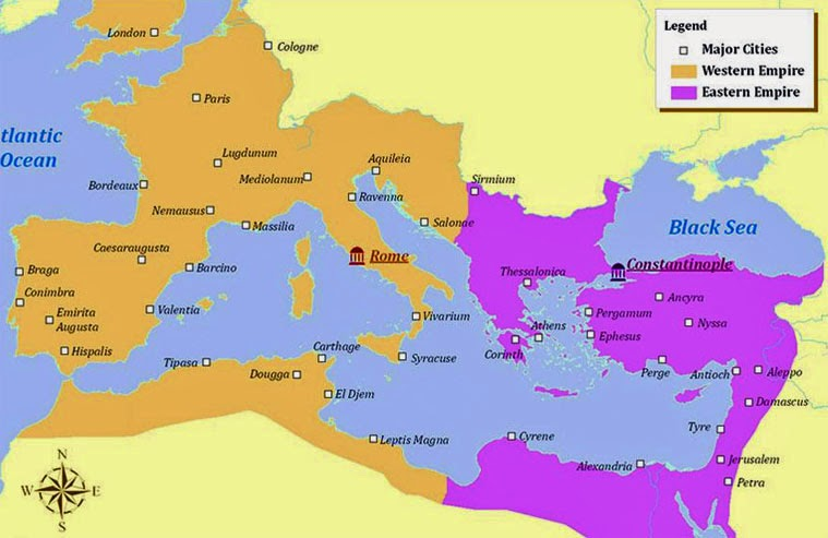 085 Eastern & Western Roman Empires Map